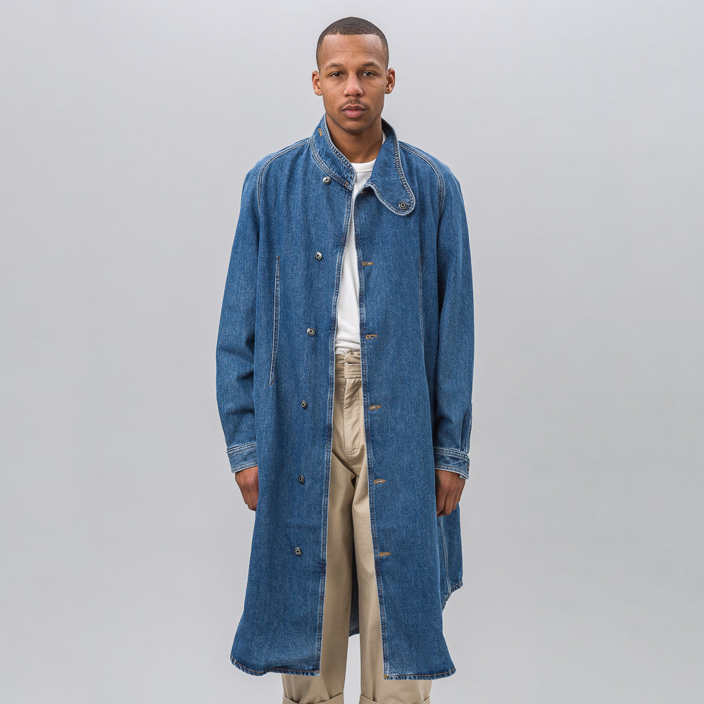 J.W. Anderson Denim Coat with Foldover Collar in Indigo - Notre