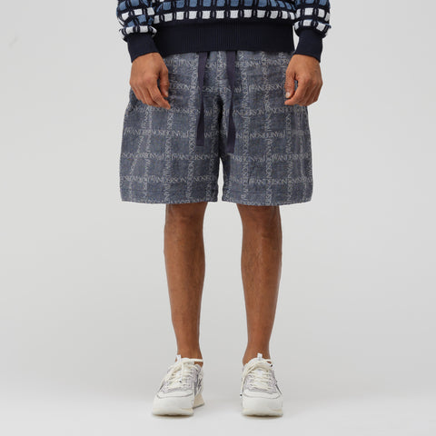 J.W. Anderson Elasticated Waistband Logo Grid Cotton Shorts in Navy - Notre