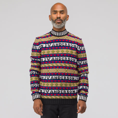 J.W. Anderson Fairisle Logo Intarsia Crew Neck Sweater in Black - Notre