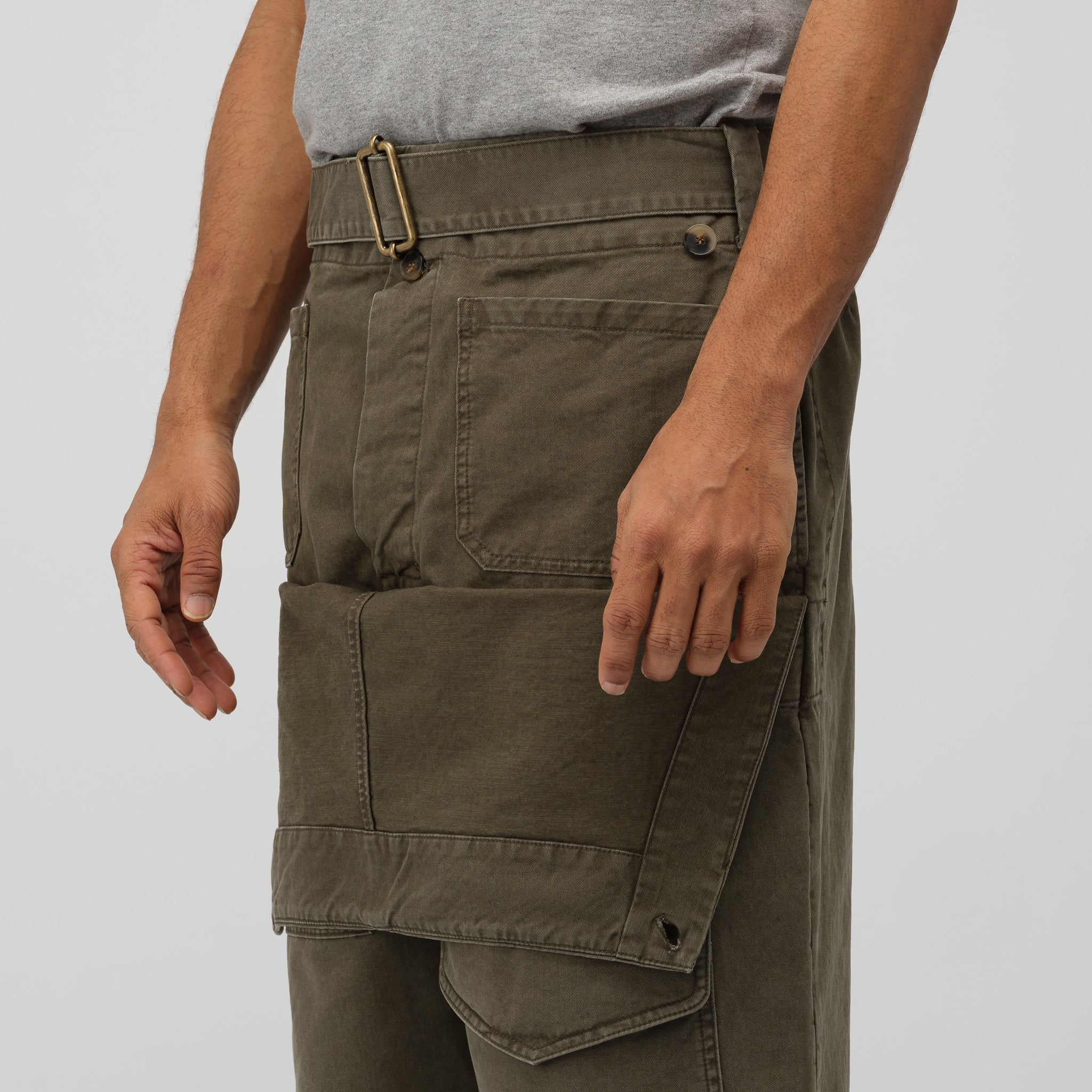 Front Pocket Fold Trouser in Khaki