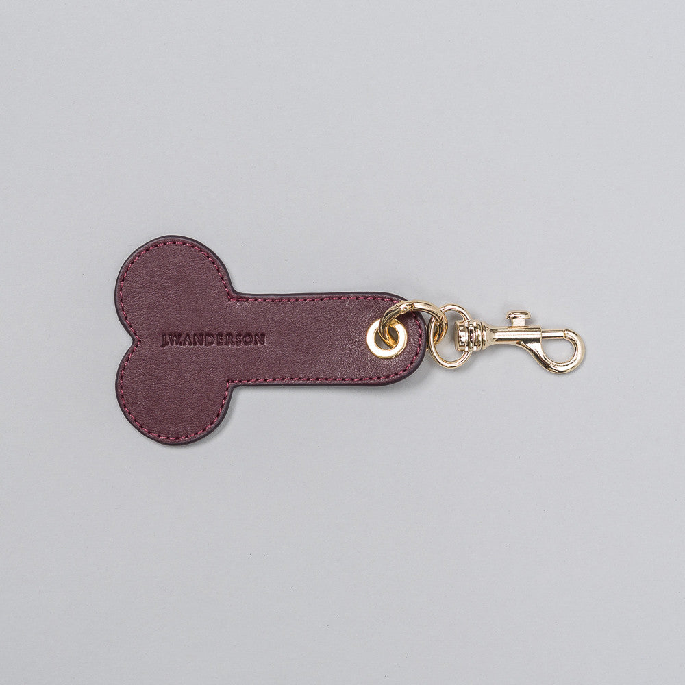 Leather Penis Keychain in Bordeaux