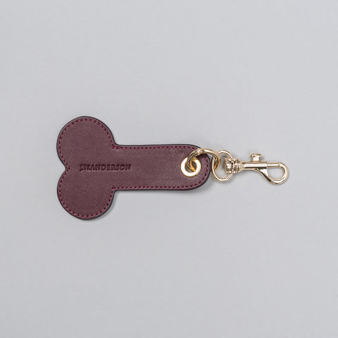 J.W. Anderson Leather Penis Keychain in Bordeaux - Notre