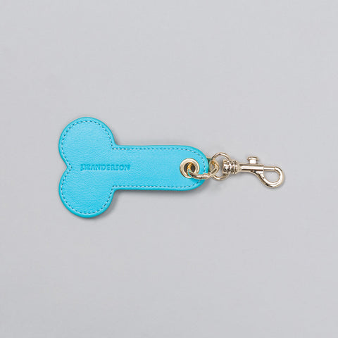 J.W. Anderson Leather Penis Keychain in Ocean - Notre