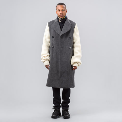 J.W. Anderson Knitted Sleeves Double Breasted Coat in Graphite - Notre