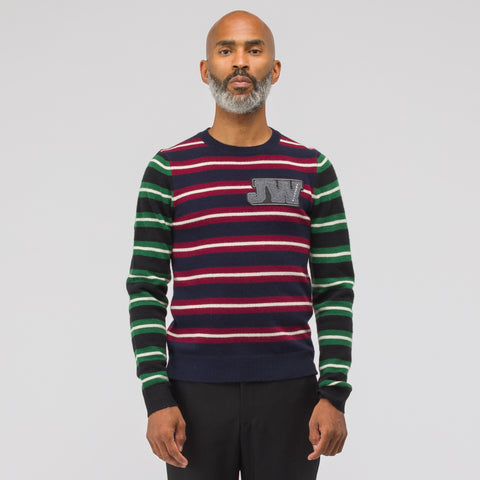 J.W. Anderson Logo Patch Stripe Jumper in Navy - Notre