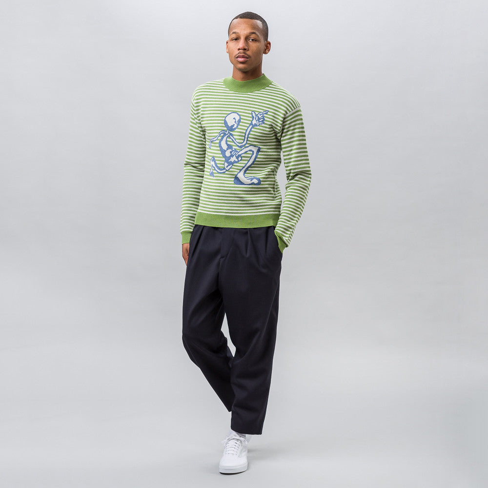 J.W. Anderson Merino Jacquard Sweater with Mercury Man in Green - Notre