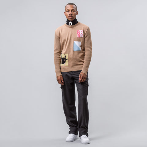 J.W. Anderson Patches Crew Neck in Camel - Notre