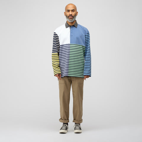 J.W. Anderson Patchwork Rugby Jersey in China Blue - Notre