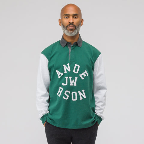 J.W. Anderson Rugby Long Sleeve Polo in Bottle Green - Notre