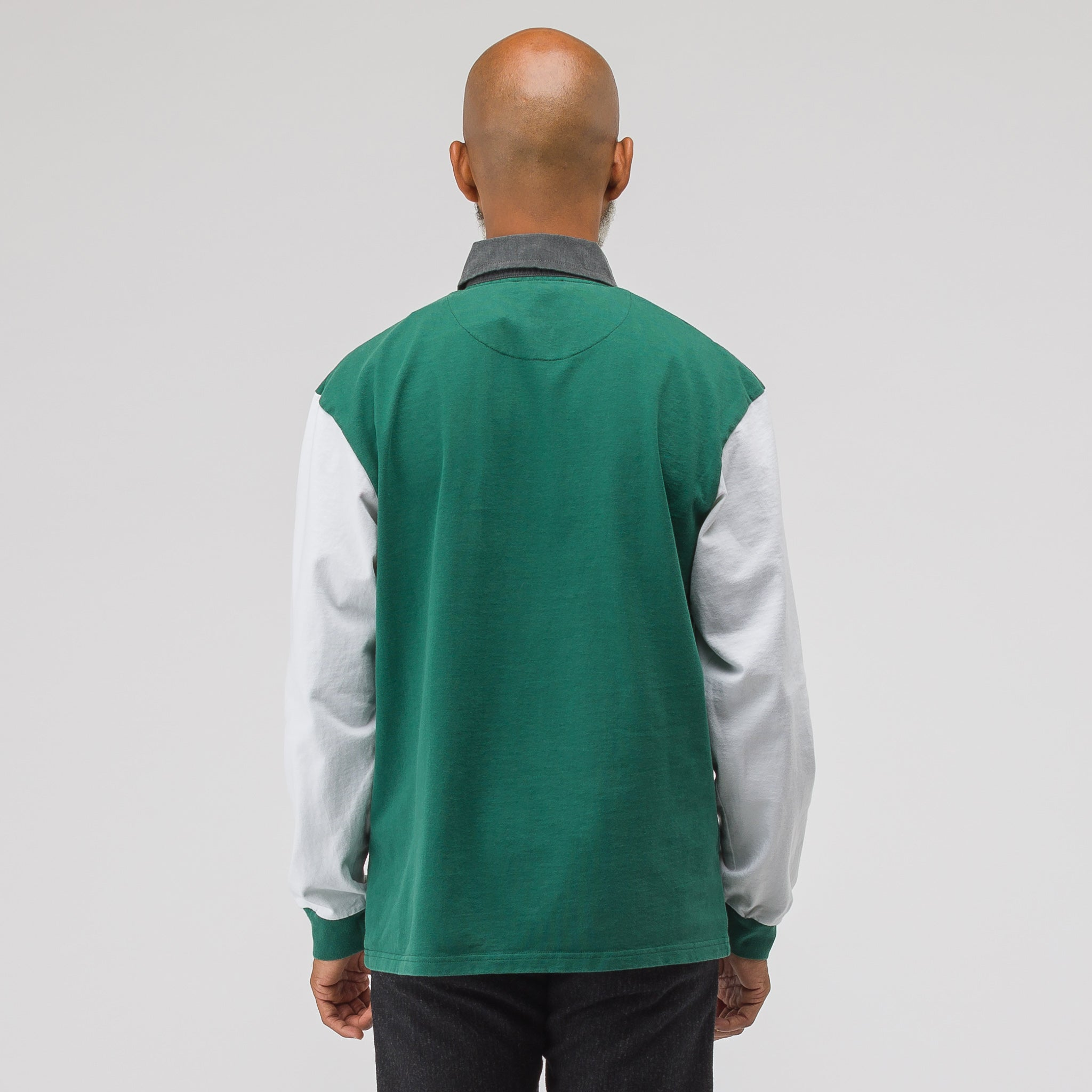 Rugby Long Sleeve Polo in Bottle Green