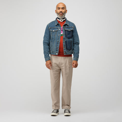 J.W. Anderson Shaded Pocket Detail Denim Jacket in Mid Blue - Notre