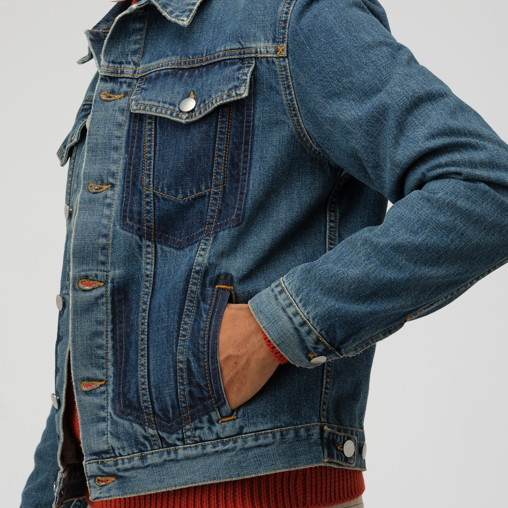 Shaded Pocket Detail Denim Jacket in Mid Blue