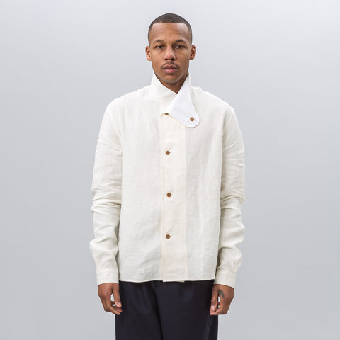 J.W. Anderson Shirt Jacket with Foldover Collar in Off White - Notre