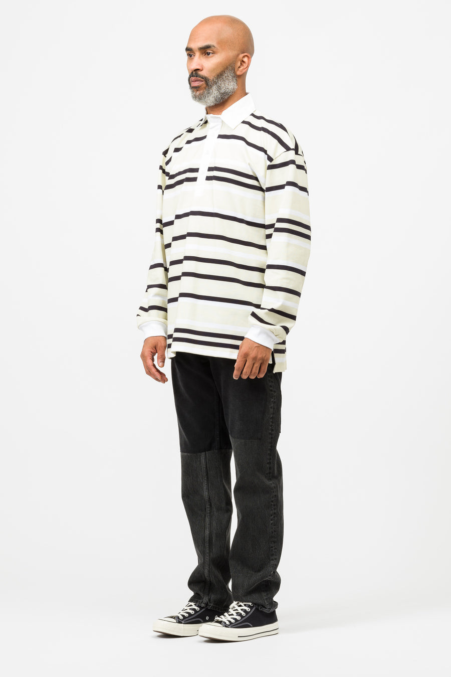 J.W. Anderson Striped Rugby Jersey Polo Shirt in Artichoke - Notre