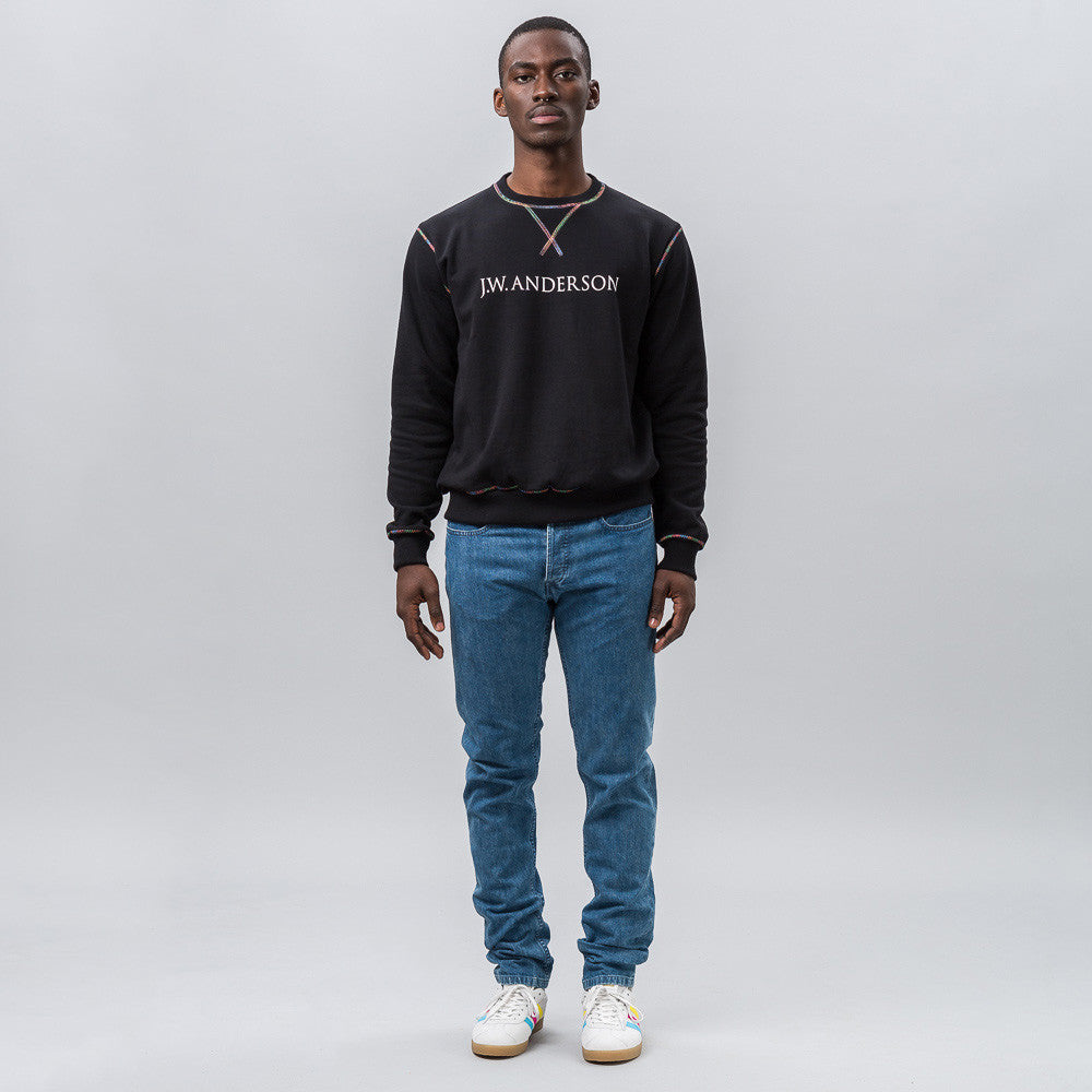 J.W. Anderson Sweatshirt with Rainbow Stitch in Black Notre 1