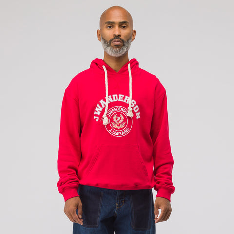 J.W. Anderson University Print Hoodie in Ruby - Notre