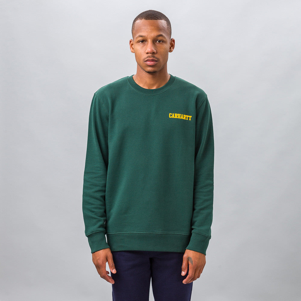 Carhartt WIP - College Script Sweatshirt in Green - Notre - 1