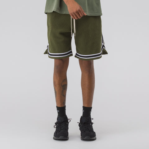 John Elliott Corduroy Basketball Shorts in Olive - Notre