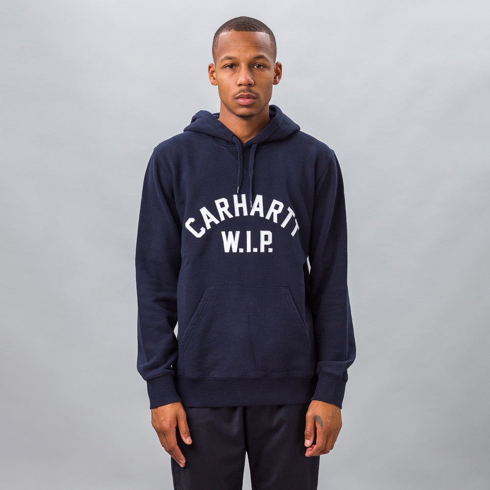 Carhartt WIP - Hooded USS Script Sweatshirt in Navy Blue - Notre - 1
