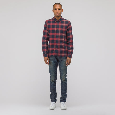 John Elliott Straight Hem Shirt in Black/Brick - Notre