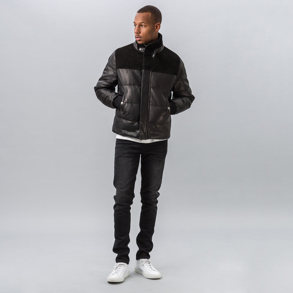 John Elliott Leather Down Jacket in Black