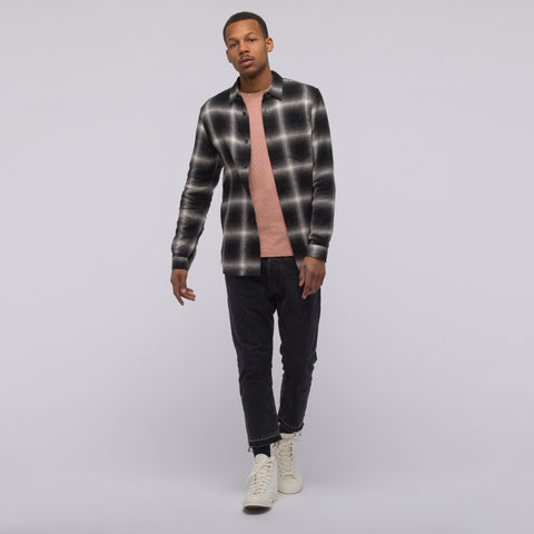 John Elliott Brushed Flannel Button Up in Black Plaid - Notre