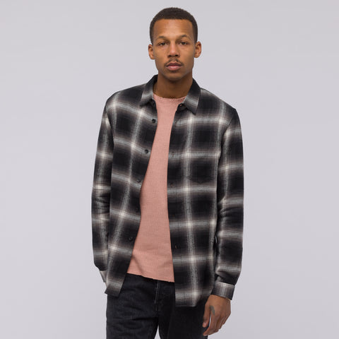 John Elliott Long Sleeve Button Up in Black Plaid - Notre