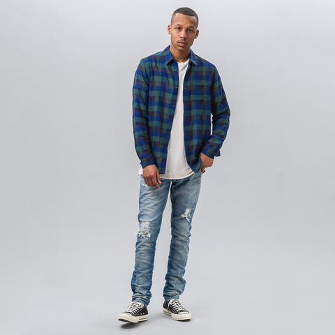 John Elliott Long Sleeve Button Up Shirt in Blue/Green - Notre