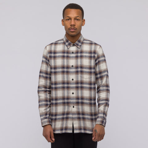 John Elliott Brushed Flannel Button Up in Tan Plaid - Notre