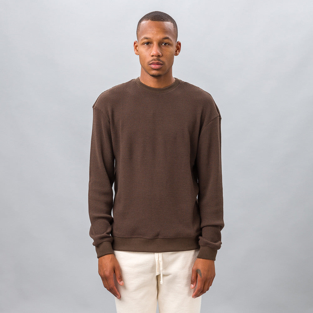 John Elliott Oversized Thermal Crew in Brown Model Shot