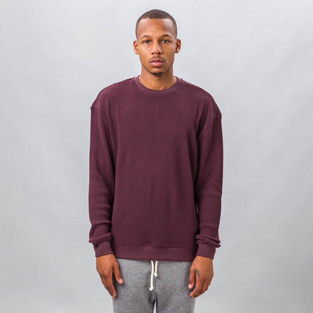 John Elliott - Oversized Thermal Crew in Maroon - Notre - 1