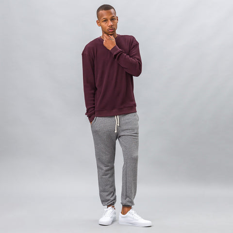 John Elliott Oversized Thermal Crew in Maroon - Notre