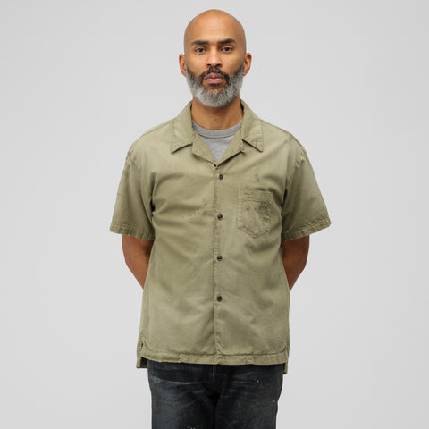 John Elliott Petrol Short Sleeve Button Up in Olive - Notre