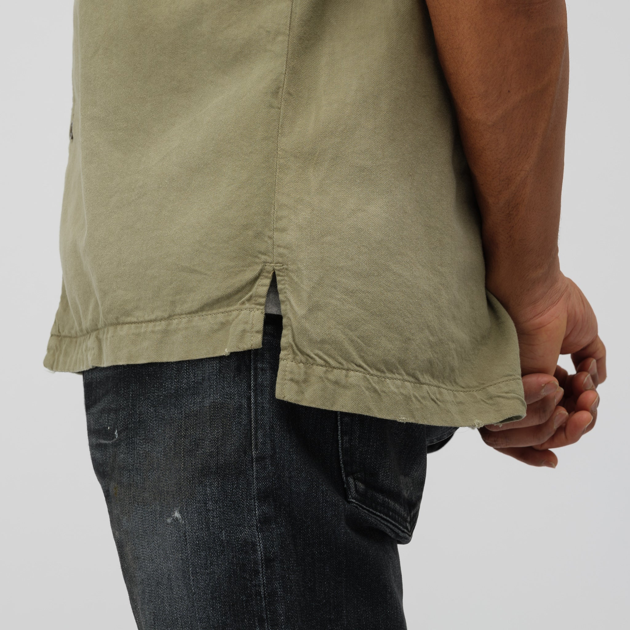 Petrol Short Sleeve Button Up in Olive