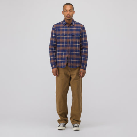 John Elliott Quilt Lined Shirt in Navy/Brown - Notre