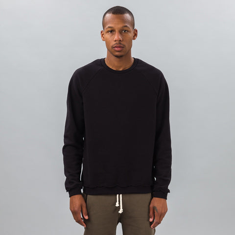 John Elliott Raw Edge Raglan Crew in Black - Notre