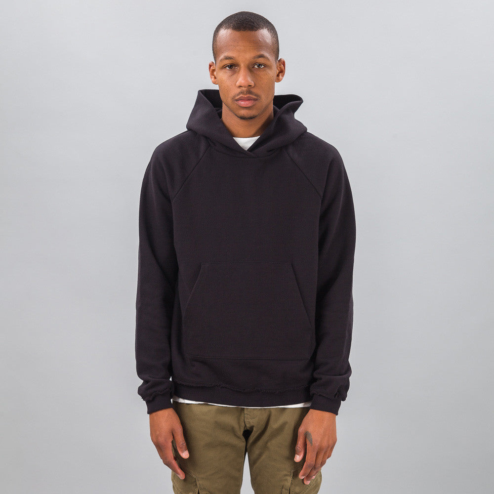 John Elliott - Raw Edge Raglan Hoodie in Black - Notre - 1