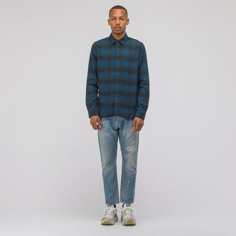 John Elliott Straight Hem Shirt in Navy/Brown - Notre