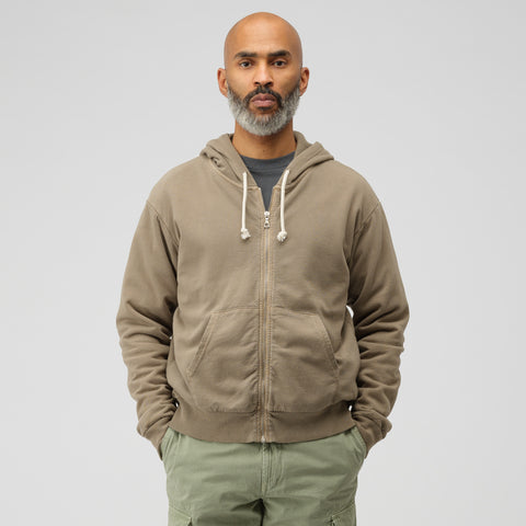 John Elliott Thermal Lined Full Zip Sweatshirt in Brown - Notre