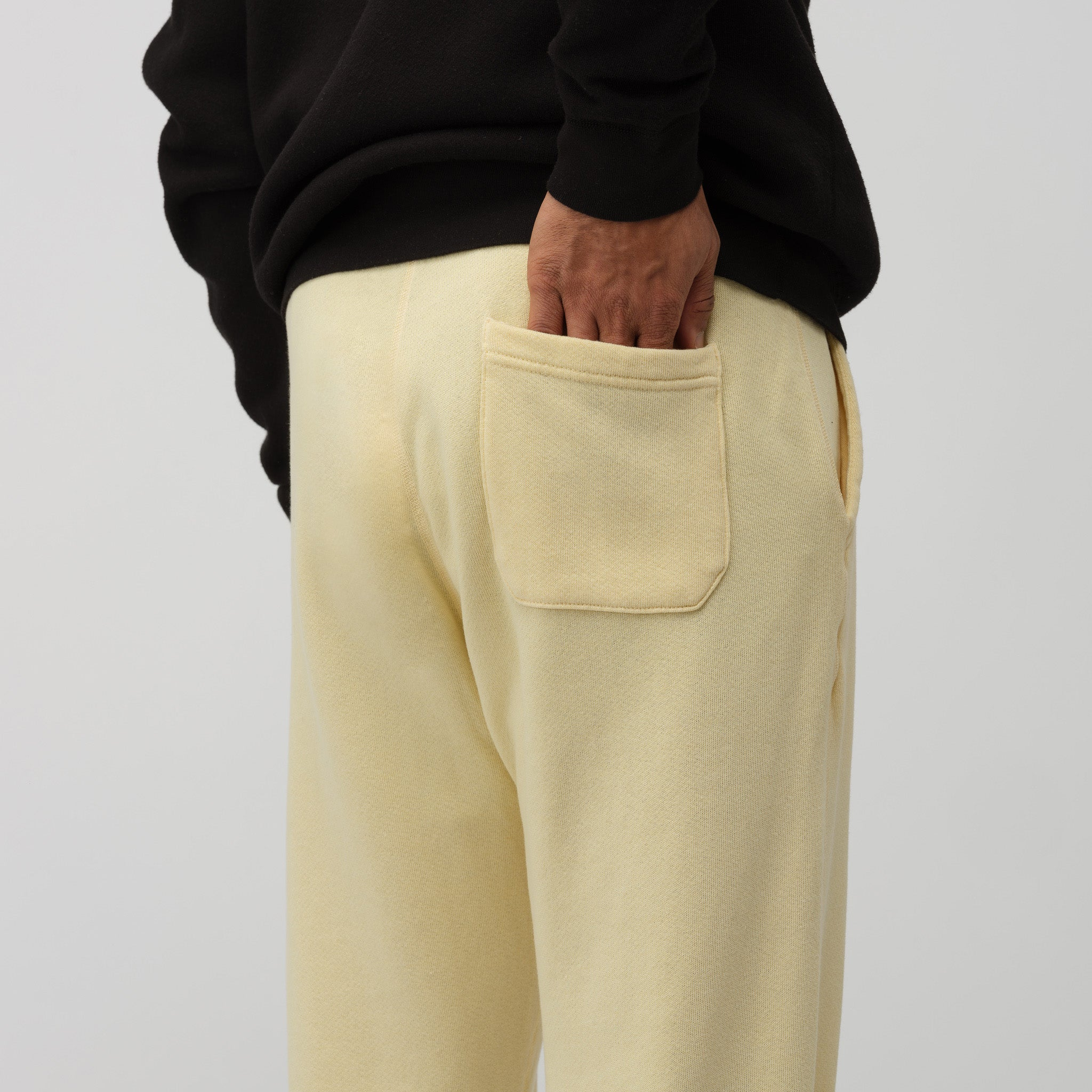 Vintage Fleece Sweatpants in Light Yellow