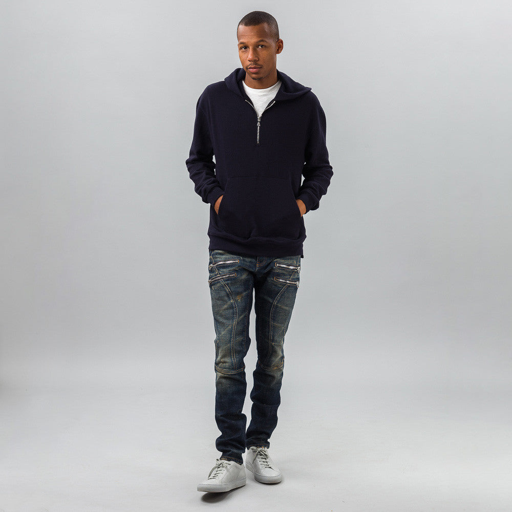 John Elliott - Mercer Half-Zip Hoodie in Dark Navy - Notre - 1