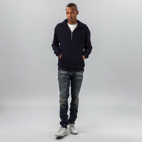 John Elliott Mercer Half-Zip Hoodie in Dark Navy - Notre