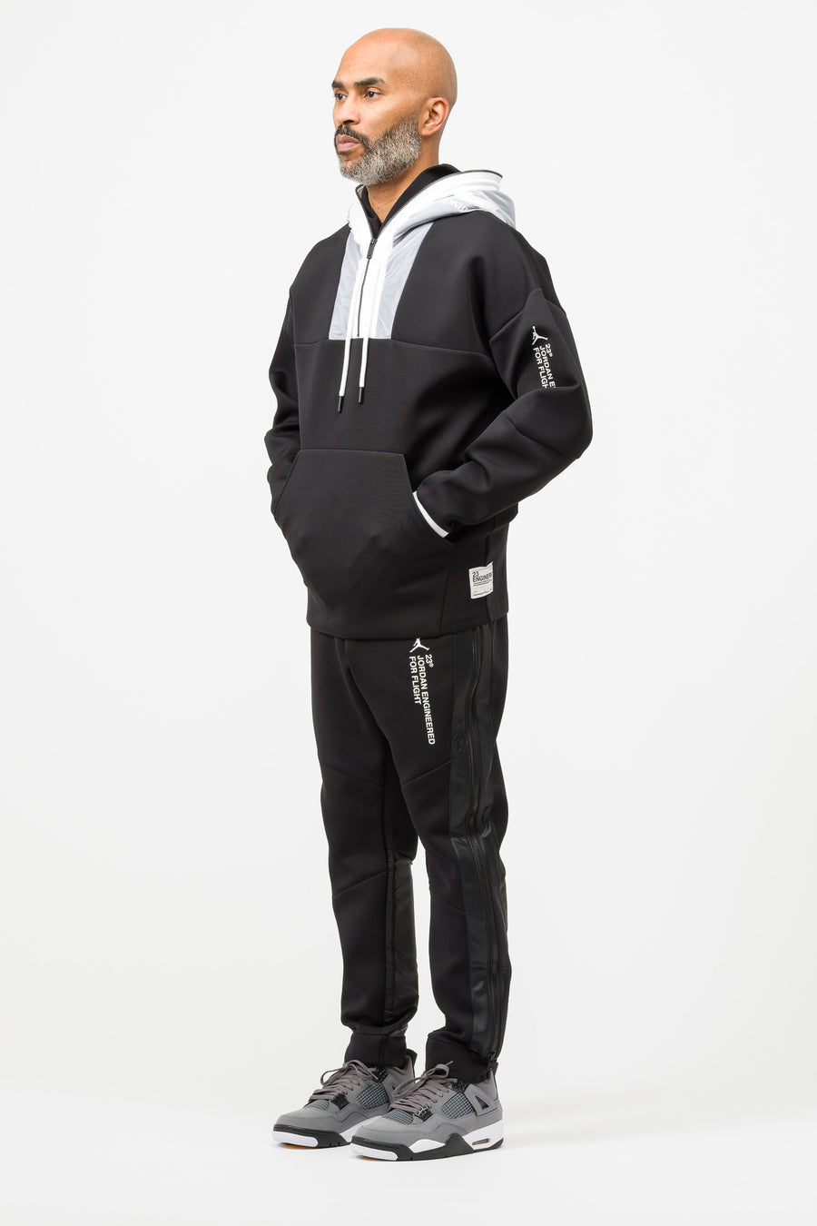Jordan 23 Engineered Half Zip Hoodie in Black/White - Notre
