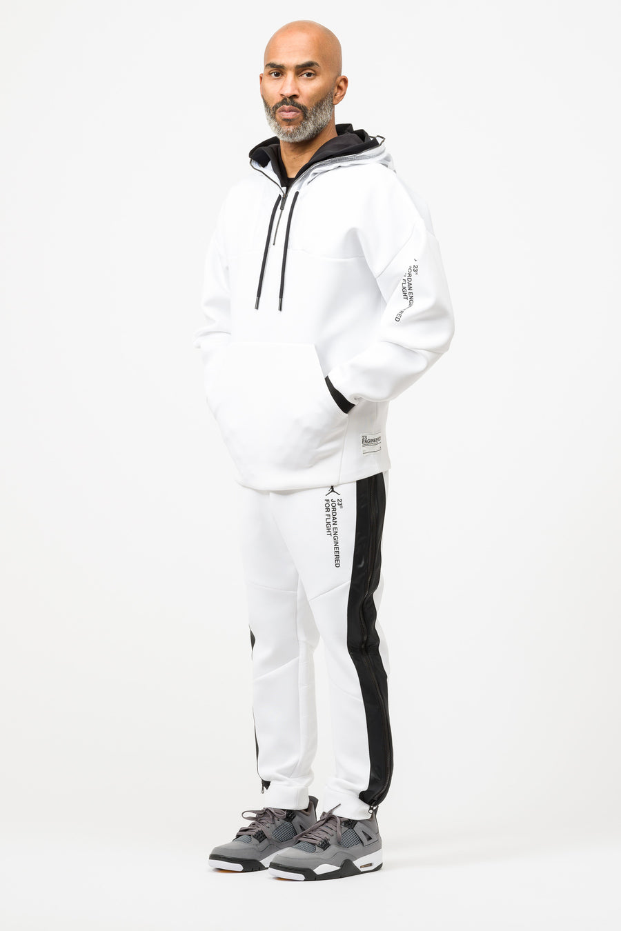 Jordan 23 Engineered Half Zip Hoodie in White - Notre