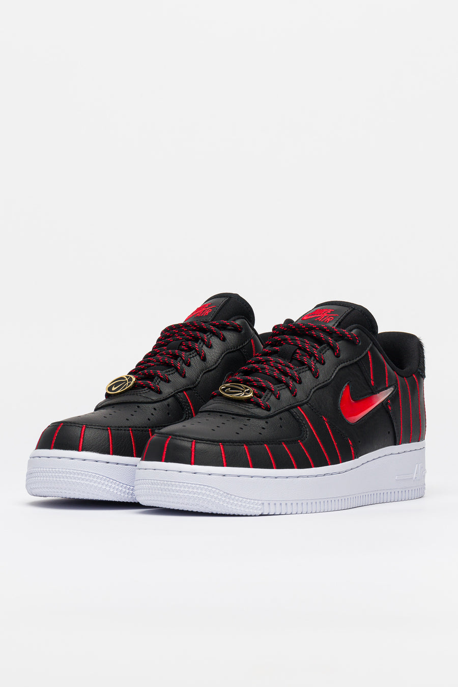 W Air Force 1 Jewel Qs In Black Red White