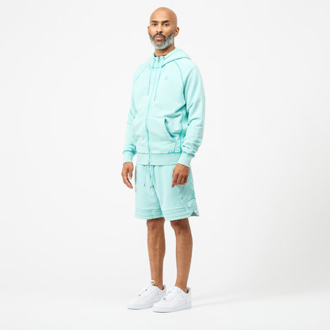 Wings Washed Fleece Full Zip Sweatshirt in Light Aqua