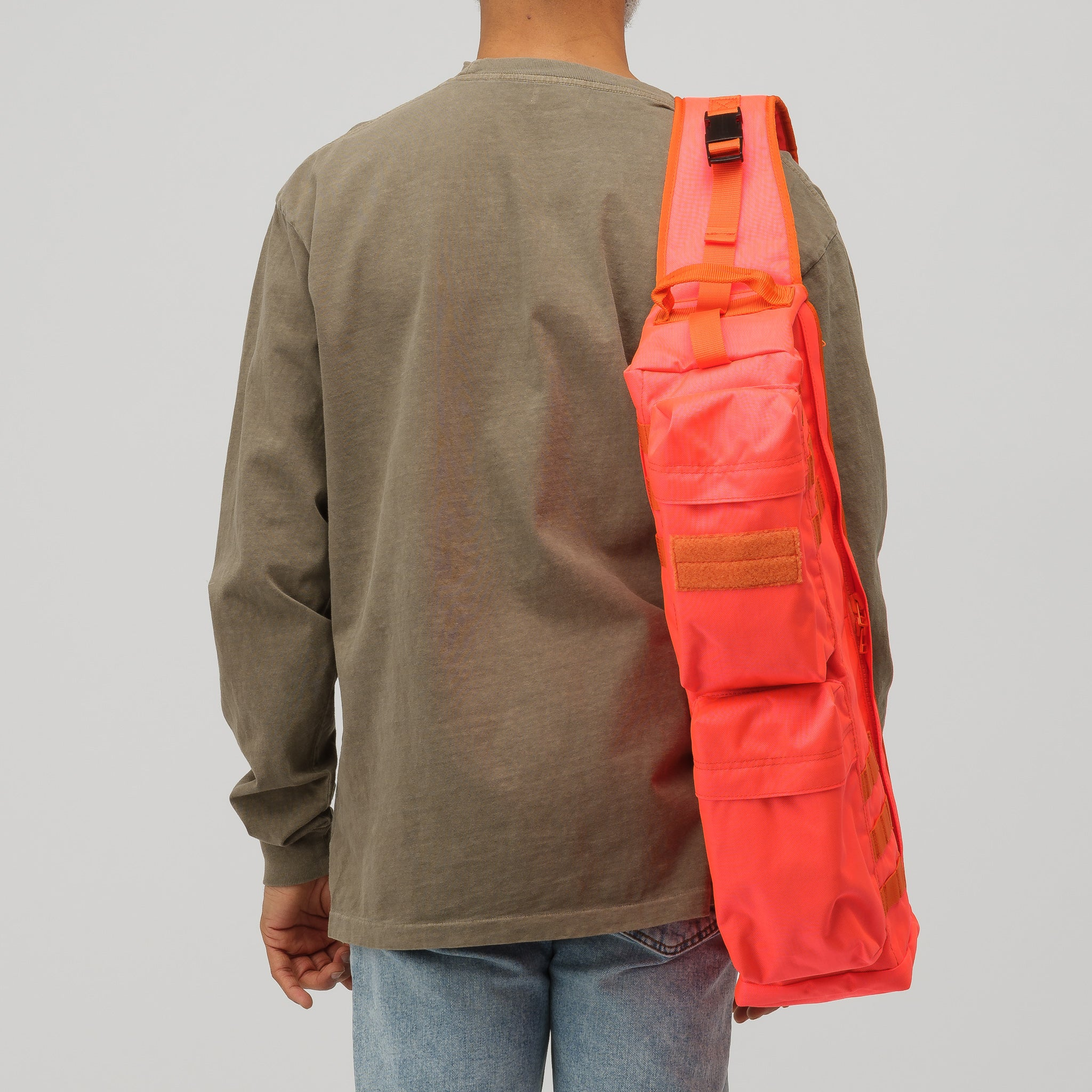 Nylon Oxford Military Shoulder Bag in Orange