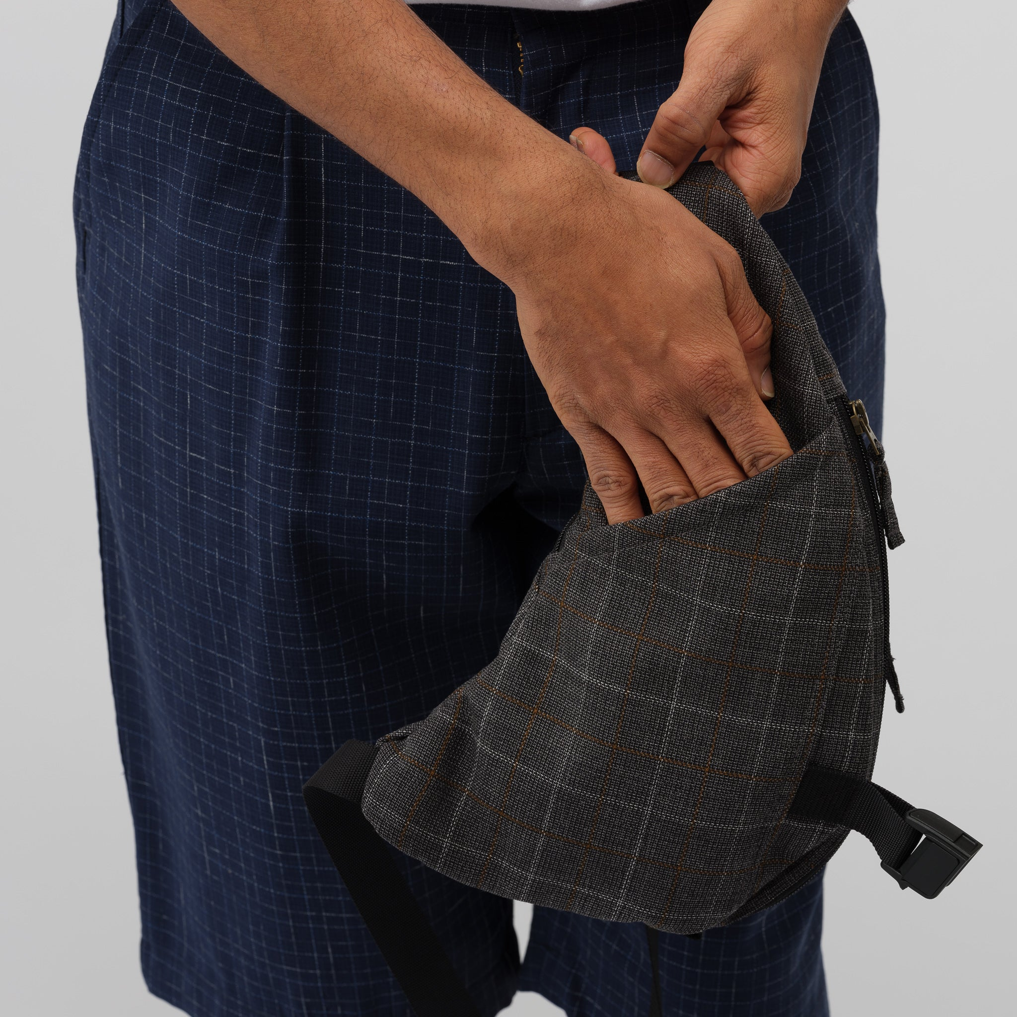 Half-Moon Shoulder Bag in Grey Plaid