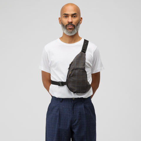 Junya Watanabe Half-Moon Shoulder Bag in Grey Plaid - Notre
