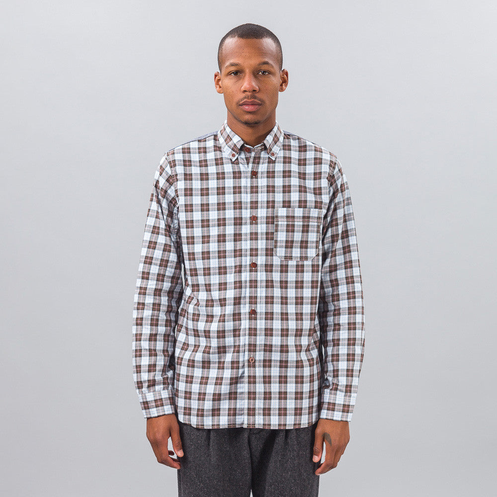 Junya Watanabe - Tartan Button Down in Brown/Chambray - Notre - 1